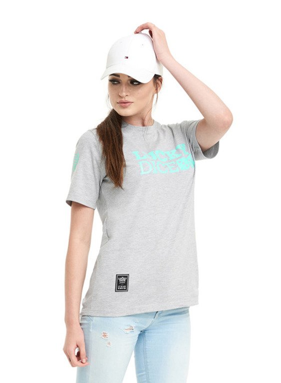 LUCKY DICE T-SHIRT WOMAN LD SEVEN GIRL GREY-MINT