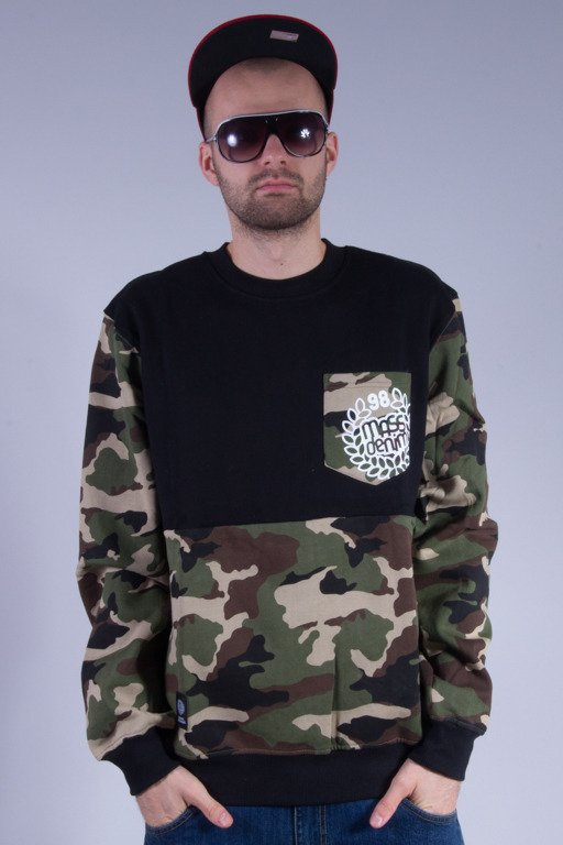 MASS BLUZA BEZ KAPTURA POCKET BASE BLACK-CAMO