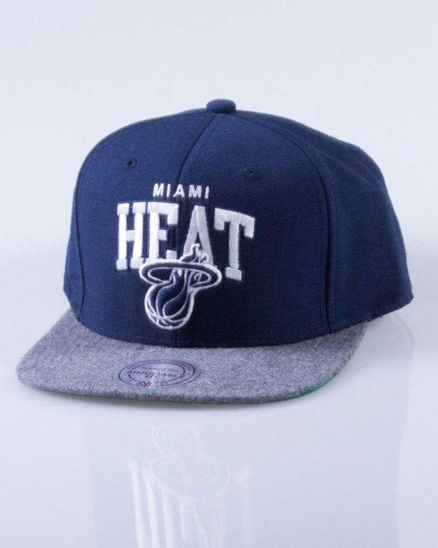 MITCHELL & NESS CZAPKA SNAPBACK MIAMI HEAT FLANNEL NAVY