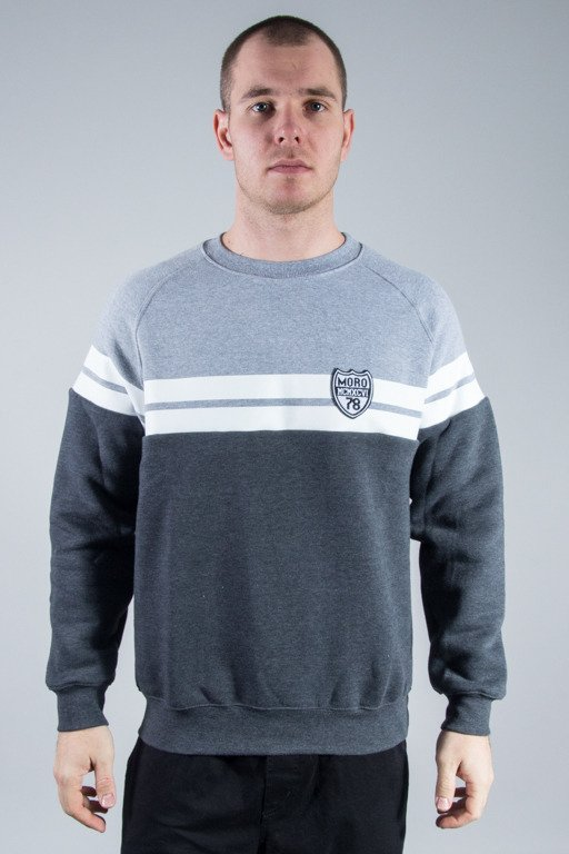MORO SPORT CREWNECK STRIPE SHIELD GREY-MELANGE
