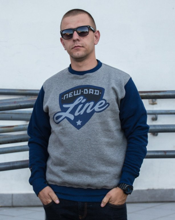 NEW BAD LINE CREWNECK SHIELD GREY-NAVY