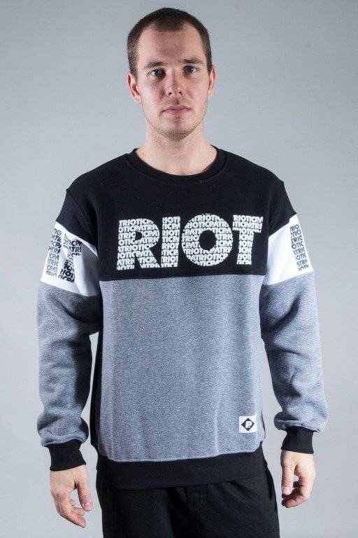 PATRIOTIC CREWNECK RIOT FONTS GREY-BLACK