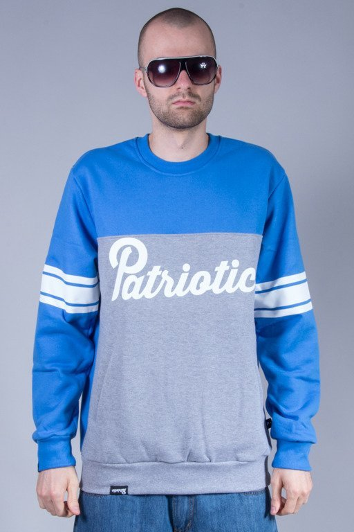 PATRIOTIC CREWNECK SHOULDER BLUE-MELANGE