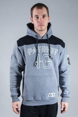 PATRIOTIC HOODIE 10 NECK GREY-BLACK