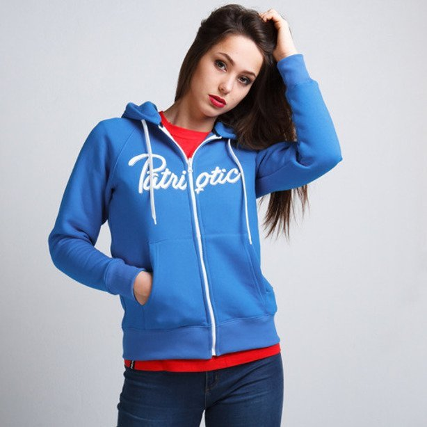 PATRITOIC GIRL HOODIE ZIP LIQUID BLUE