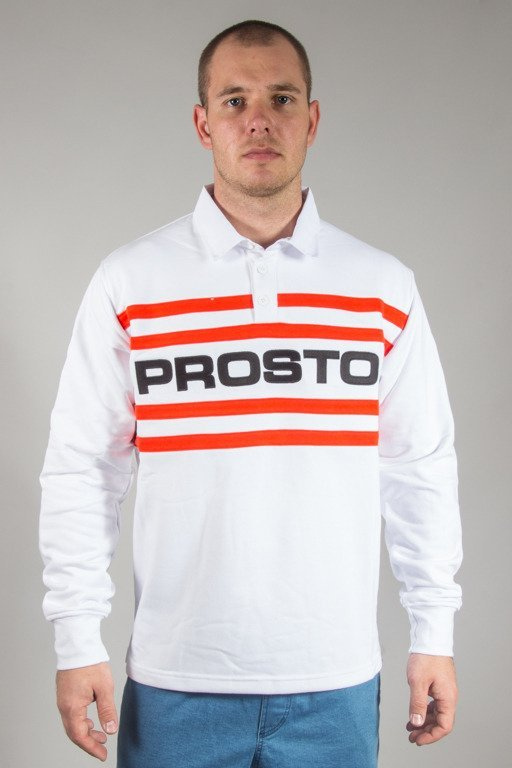 PROSTO CREWNECK RUGBY STRIPES WHITE