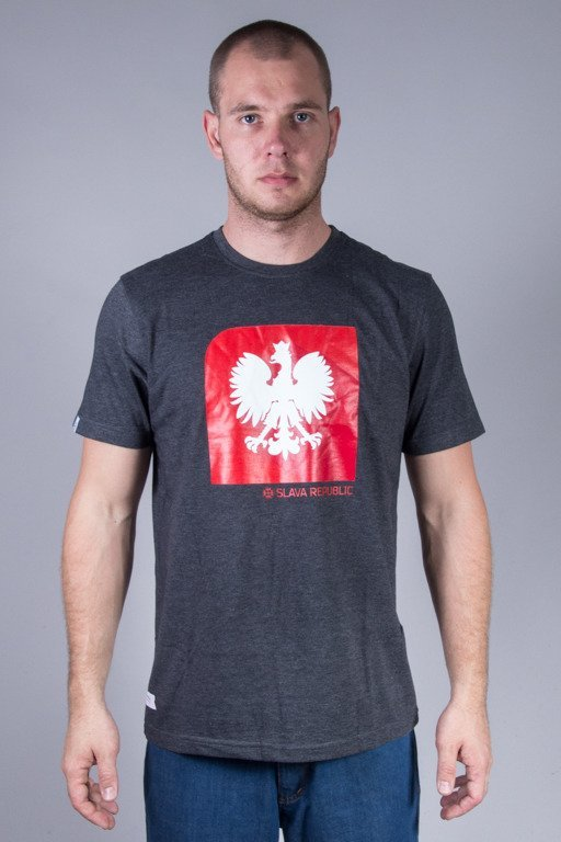 SLAVA REPUBLIC T-SHIRT FLAGA GODŁO GREY