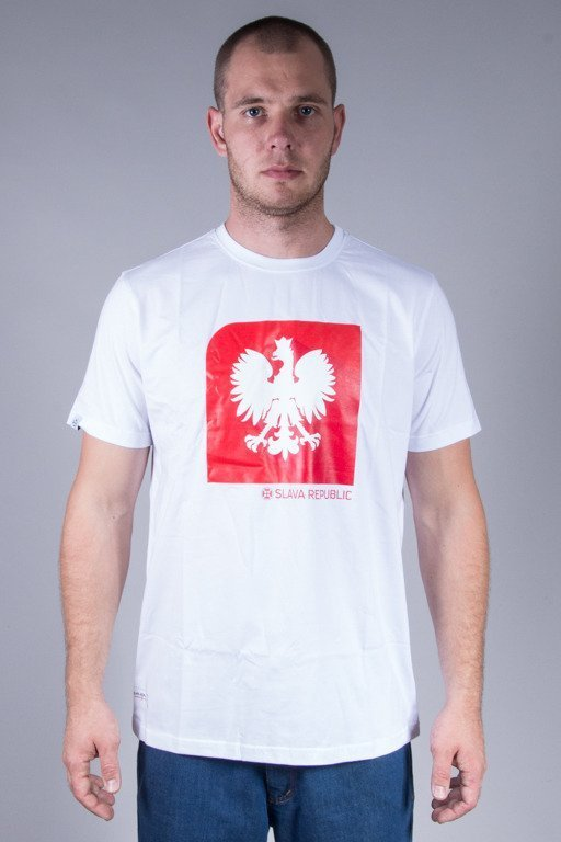 SLAVA REPUBLIC T-SHIRT FLAGA GODŁO WHITE