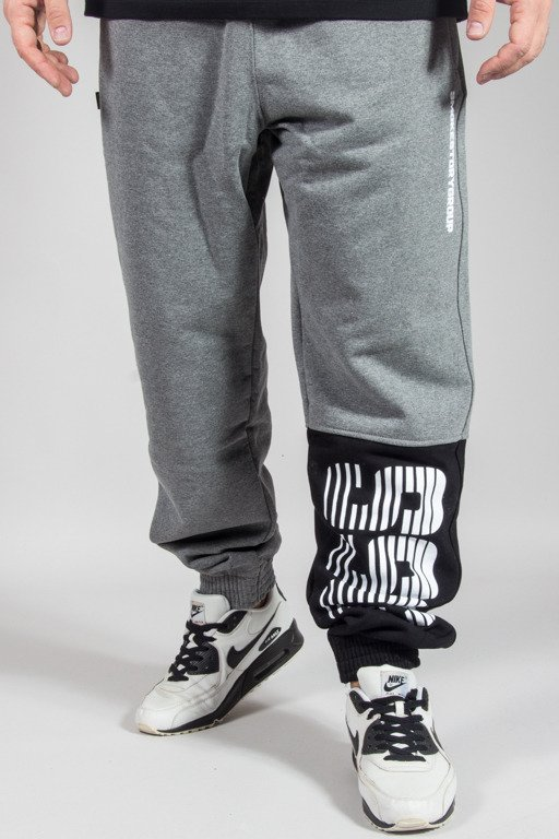 SSG SWEATPANTS JOGGER ONE SIDE LINES GREY