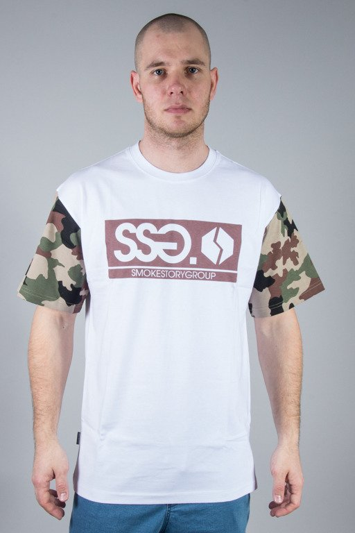 SSG T-SHIRT MORO SLEEVES WHITE-BROWN