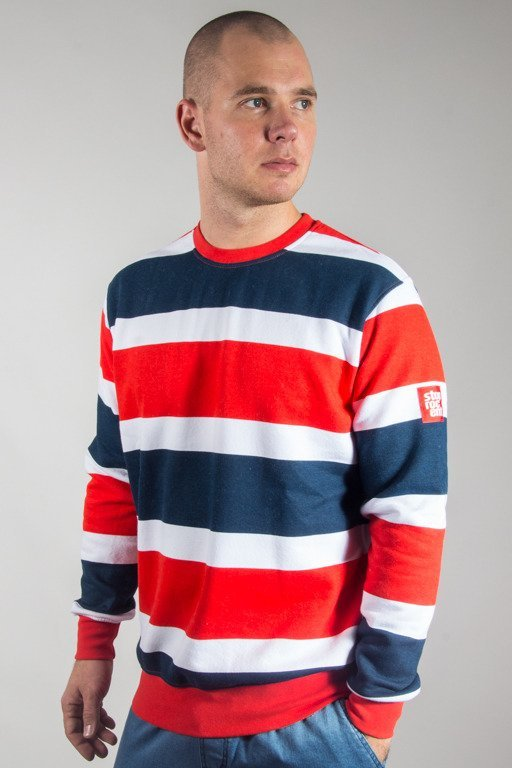 STOPROCENT CREWNECK STRIPES17 BLUE-RED-WHITE