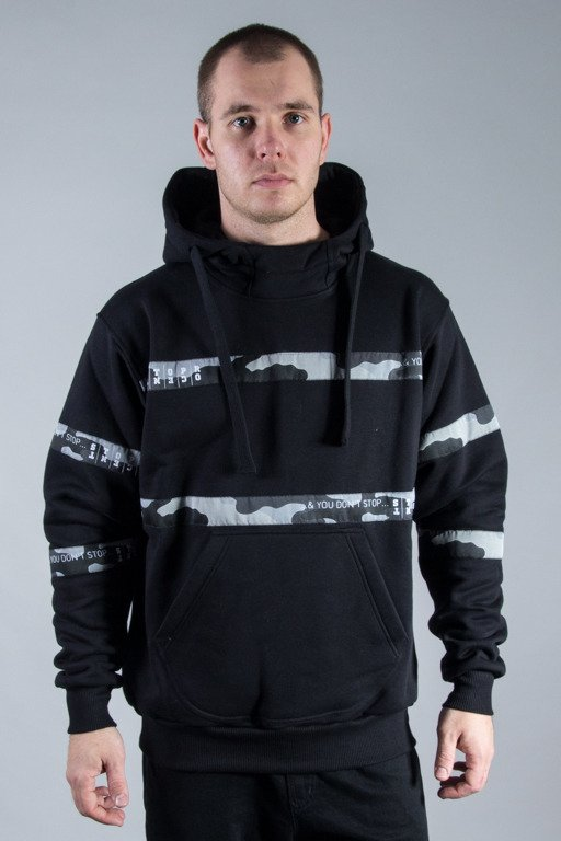 STOPROCENT HOODIE STRIPES BLACK-CAMO