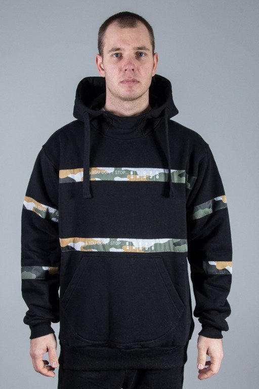 STOPROCENT HOODIE STRIPES BLACK- GREEN CAMO