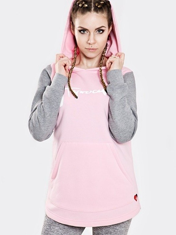 STOPROCENT HOODIE WOMAN LONG TAG PINK-MELANGE