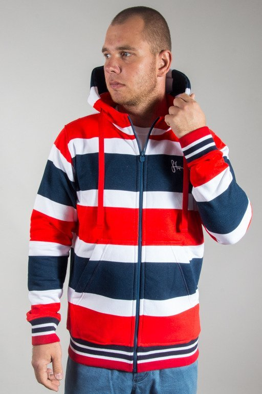 STOPROCENT HOODIE ZIP STRIPES 17 BLUE-RED
