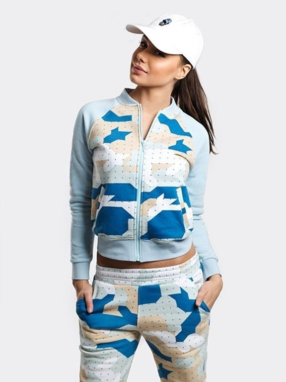 STOPROCENT HOODIE ZIP WOMAN CAMU BLUE
