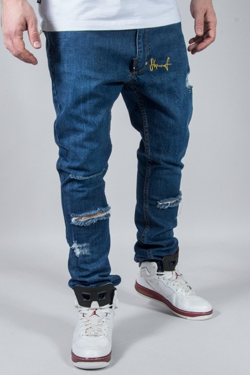 STOPROCENT JEANS SLIM LOW SPLIT BLUE
