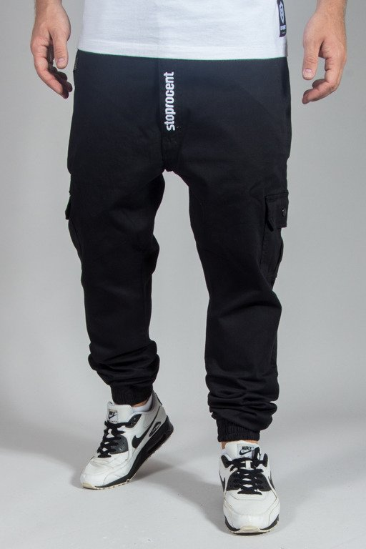 STOPROCENT PANTS CHINO JOGGER ARMY 17 BLACK