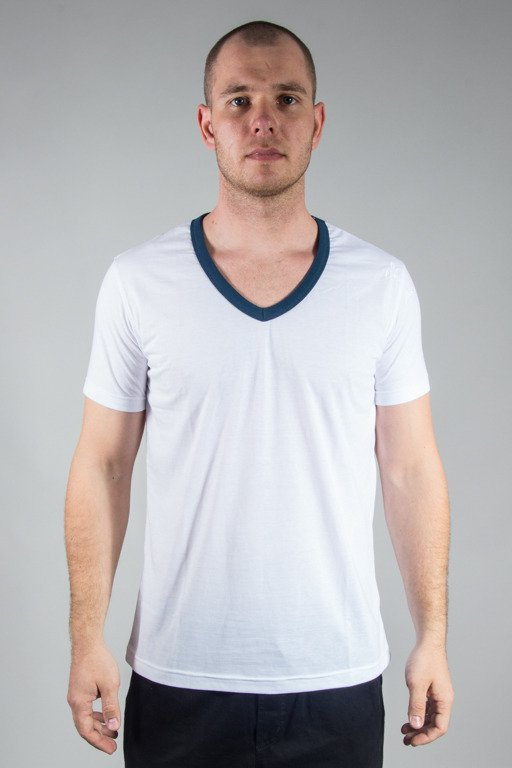 STOPROCENT T-SHIRT VNECK17 WHITE-BLUE