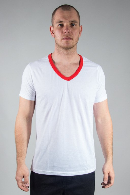 STOPROCENT T-SHIRT VNECK17 WHITE-RED