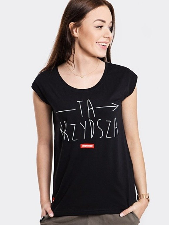 STOPROCENT T-SHIRT WOMAN BRZYDSZA BLACK