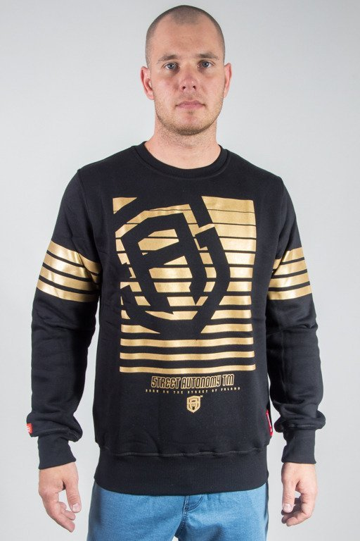 STREET AUTONOMY CREWNECK STRIPES 2 BLACK-GOLD