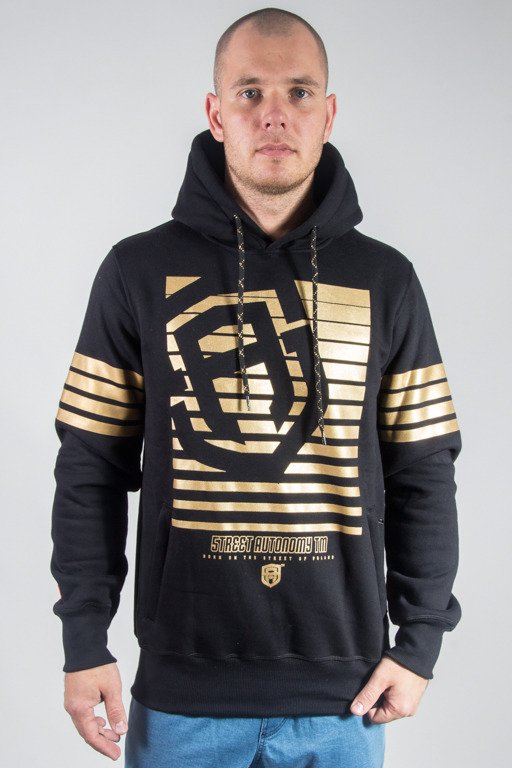 STREET AUTONOMY HOODIE STRIPES 2 BLACK-GOLD
