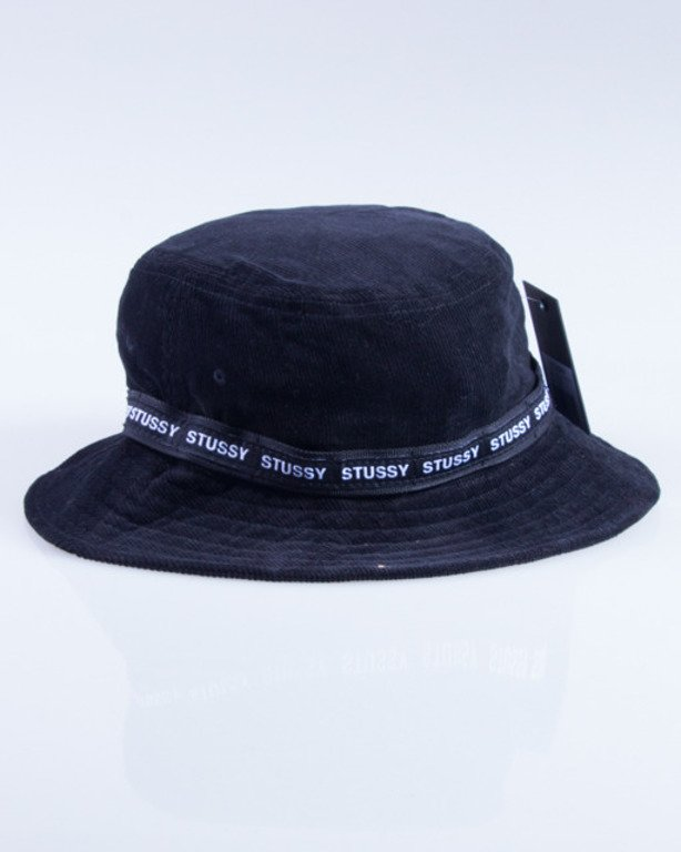 STUSSY KAPELUSZ BAND CORD BUCKET BLACK