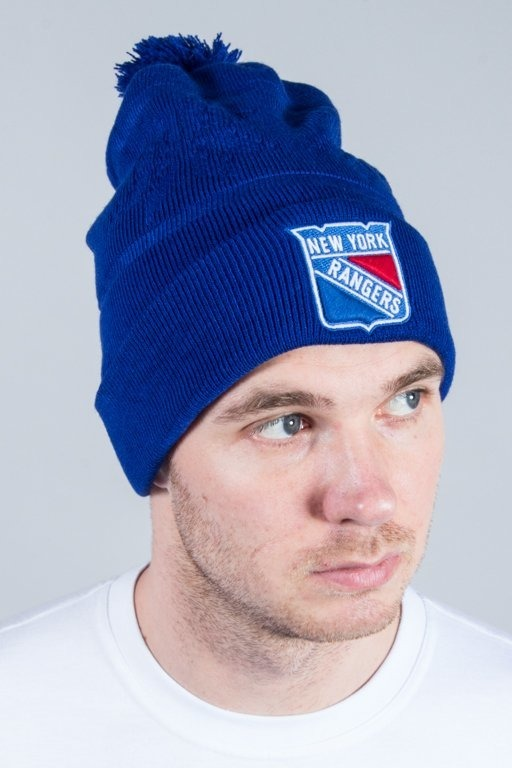 47 BRAND WINTER CAP SKI TRACK CUFF KNIT WITH POM POM  NY RANGERS