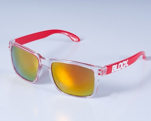 BLOCX OKULARY SQUARE CLEAR RED COL