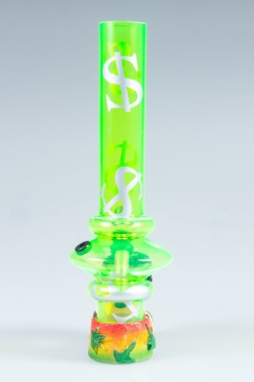 BONGO AKRYLOWE RASTA GLASS DOLAR BONG LONG GREEN