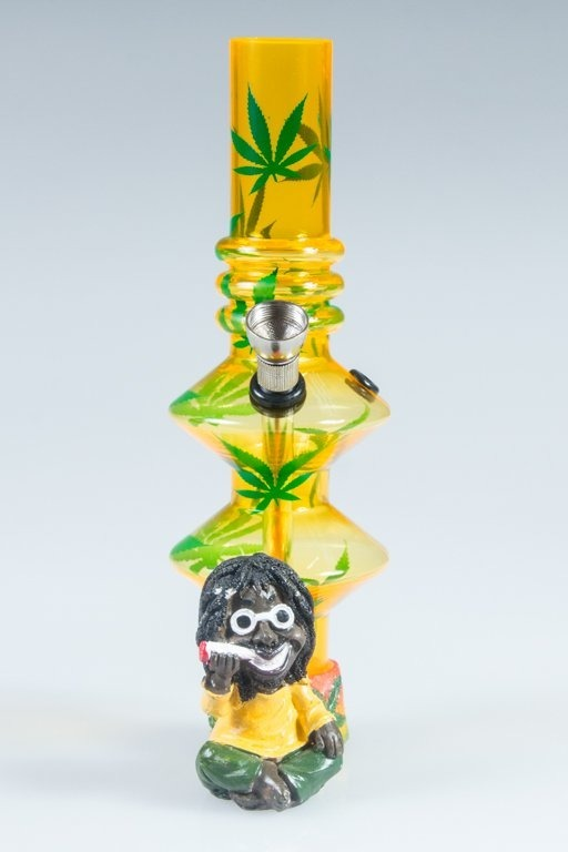 BONGO AKRYLOWE RASTA GLASS MARIHUANA LONG BAND YELLOW-GREEN