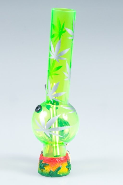 BONGO AKRYLOWE RASTA GLASS MARIHUANA LONG GREEN