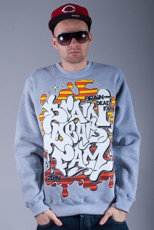 BRAIN DEAD FAMILIA BLUZA BEZ KAPTURA GRAFFITI MELANGE-ORANGE