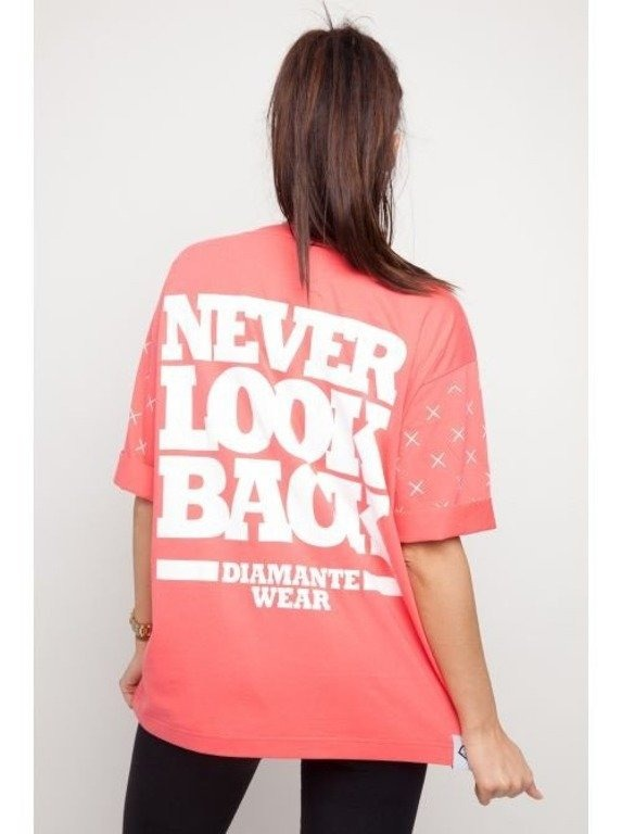 DIAMANTE CHCICKS KOSZULKA NEVER LOOK BACK CORAL