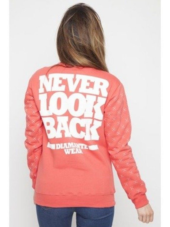 DIAMANTE CHICKS BLUZA BEZ KAPTURA NEVER LOOK BACK RED