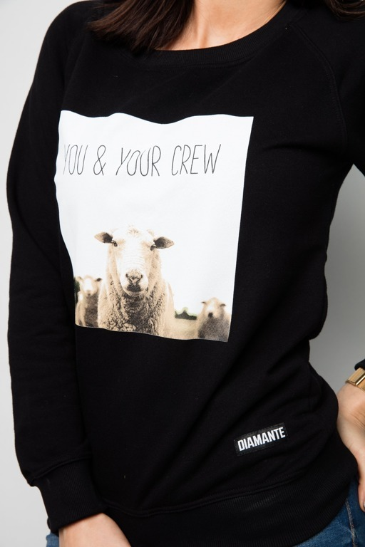 DIAMANTE CHICKS CREWNECK YOU&YOUR CREW BLACK