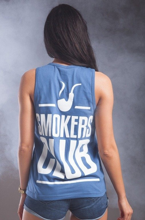DIAMANTE CHICKS KOSZULKA TOP TANK SMOKE PIPE BLUE