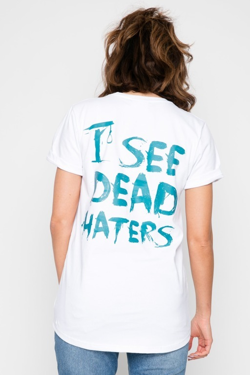 DIAMANTE CHICKS T-SHIRT I SEE DEAD HATERS WHITE