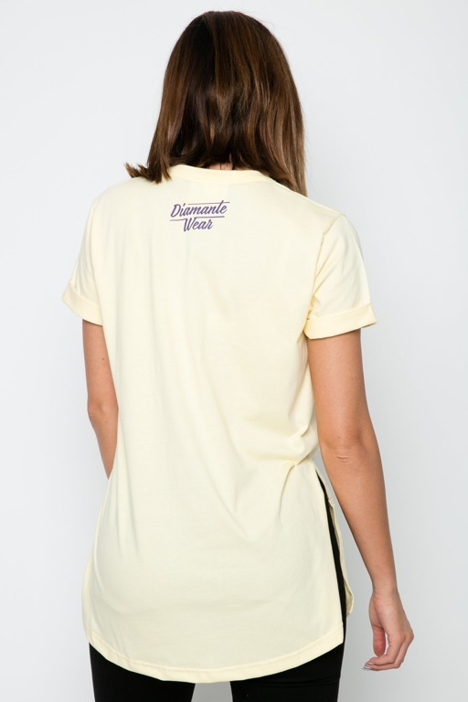 DIAMANTE CHICKS T-SHIRT LEAVE ME ALONE YELLOW