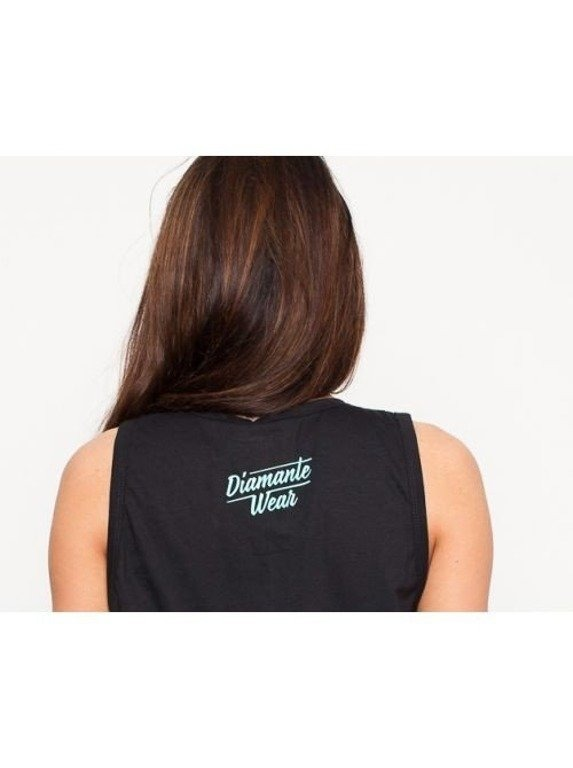 DIAMANTE CHICKS TANK TOP LOGO BLACK-MINT
