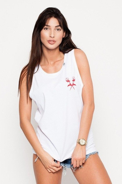 DIAMANTE CHICKS TANK TOP ROSE WHITE
