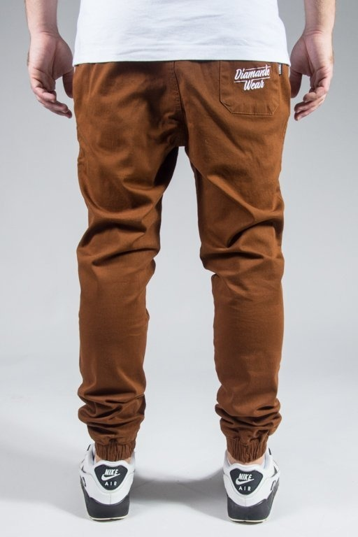 DIAMANTE WEAR SPODNIE CHINO JOGGER NEW BROWN