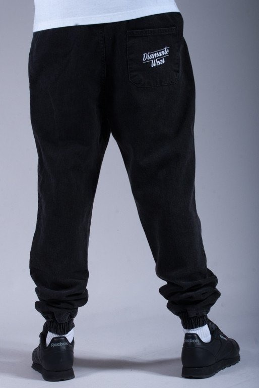 DIAMANTE WEAR SPODNIE JEANS JOGGER BLACK