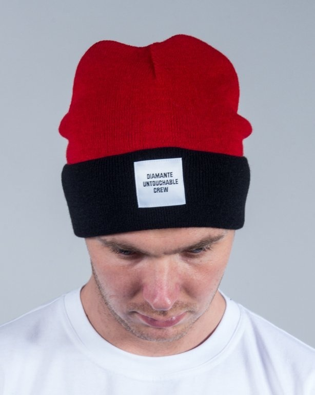 DIAMANTE WEAR WINTER CAP UNTOUCHABLE CREW RED-BLACK