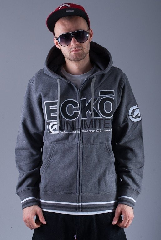 ECKO BLUZA Z KAPTUREM ZIP AMOR GREY-BLACK