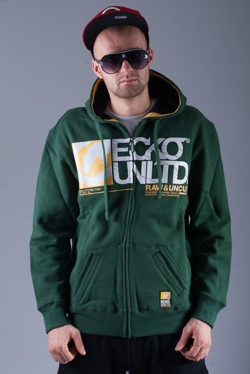 ECKO BLUZA Z KAPTUREM ZIP UP-FRONT GREEN