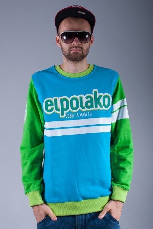 EL POLAKO BLUZA BEZ KAPTURA DOUBLE LINE BLUE-GREEN