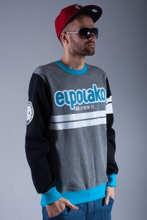 EL POLAKO BLUZA BEZ KAPTURA DOUBLE LINE GREY-BLUE