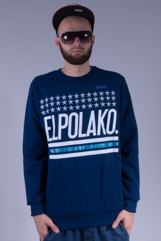 EL POLAKO BLUZA BEZ KAPTURA GHETTO HOOD NAVY